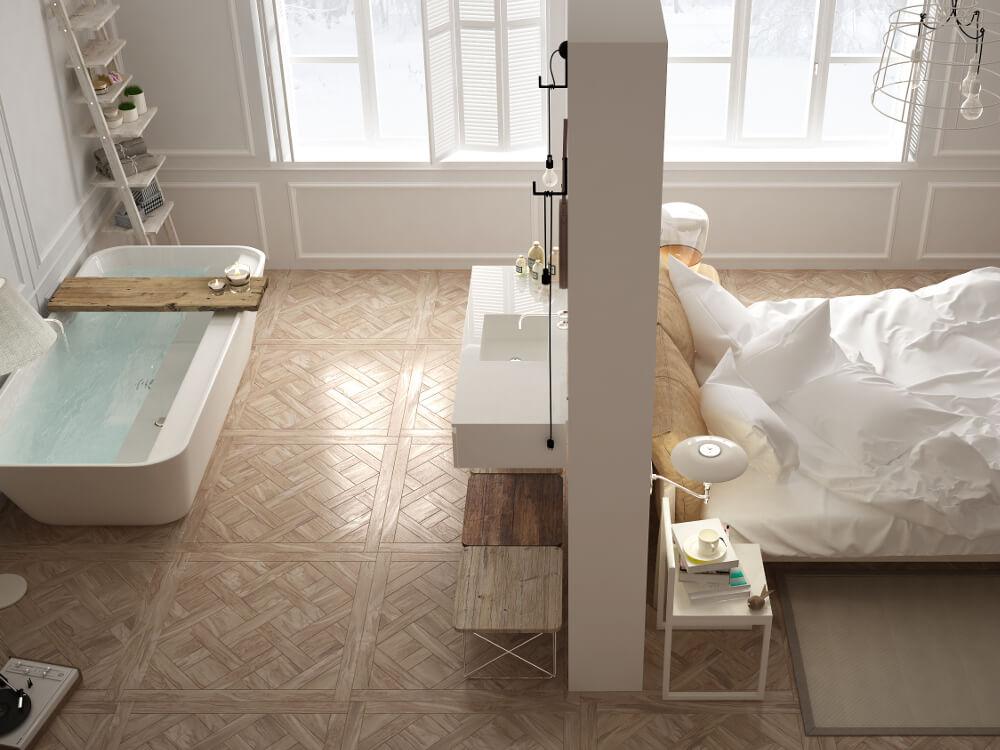 Les inspirations d'Atmosphère Bains Chauffage, plombier chauffagiste à Brest, chambre parentale avec salle de bains