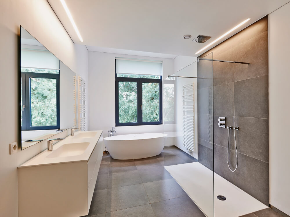 Les inspirations d'Atmosphère Bains Chauffage, plombier chauffagiste à Brest,installation de salle de bains avec douche à l'italienne